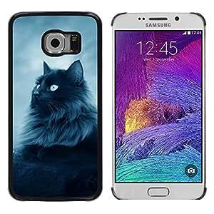 Shell-Star Arte & diseño plástico duro Fundas Cover Cubre Hard Case Cover para Samsung Galaxy S6 EDGE / SM-G925 / SM-G925A / SM-G925T / SM-G925F / SM-G925I ( Majestic Forrest Black Cat )