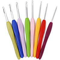 Electomania® Crochet Hooks Aluminium Sewing Needles Soft Handles Knit Weave Craft Yarn Sewing Tools 1 Set 8 pcs (Color Delivered Randomly)