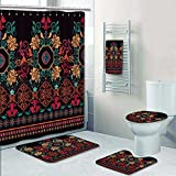 SOCOMIMI 5-piece Bathroom Set- Striped seamless pattern Floral wallpaper Prints decorate the bathroom,1-Shower Curtain,3-Mats,1-Bath towel