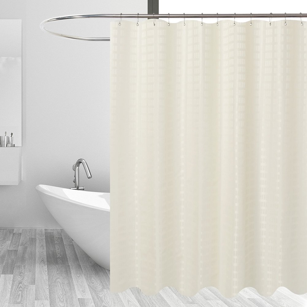 Barossa Design Fabric Shower Curtain Cream - Hotel Grade, Water Repellent and Mildew Resistant, Washable - 71 x 72 inches - Brick Dobby Pattern for Bathroom