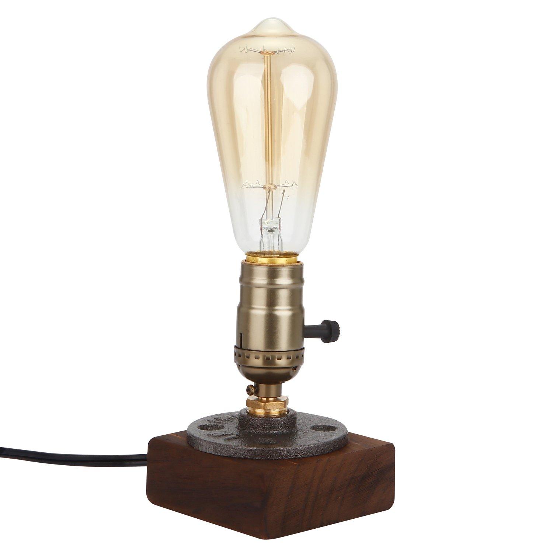 Vintage Wooden Lamps Holder, Wood & Metal Base Iron Desk Lamp for Bedside, Bedroom,Living Room,Study Room, Dining Room, Cafe Shop, Home Decoration ECT.(Bulb is not Included) by FangHong