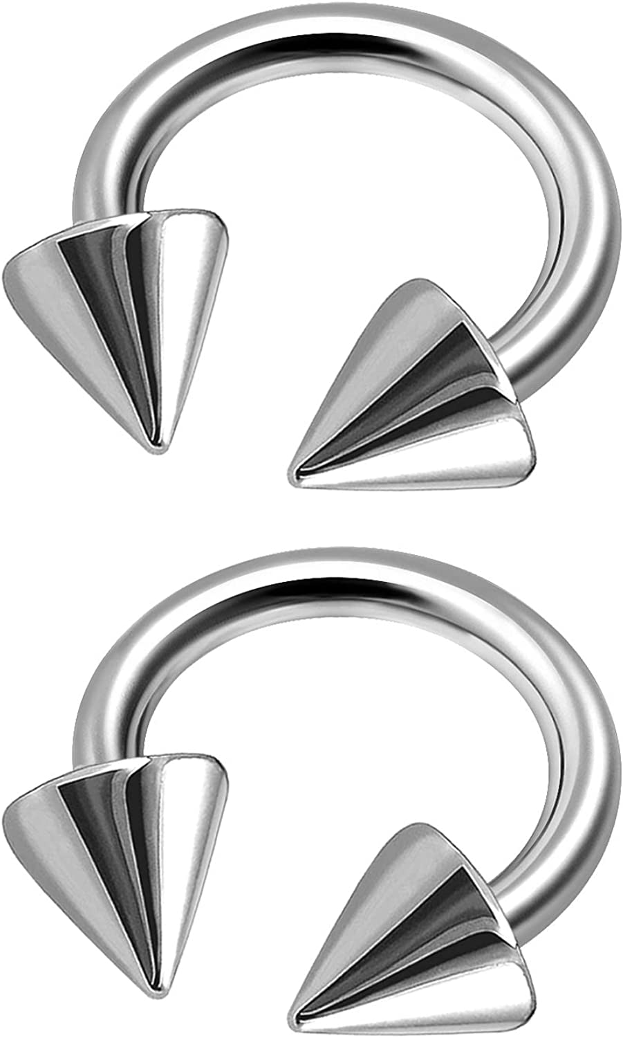 MATIGA 2Pcs Surgical Steel 14 Gauge Horseshoe Hoops Piercing Jewelry Cartilage Daith Septum Eyebrow Tragus 5mm Cone More Choices