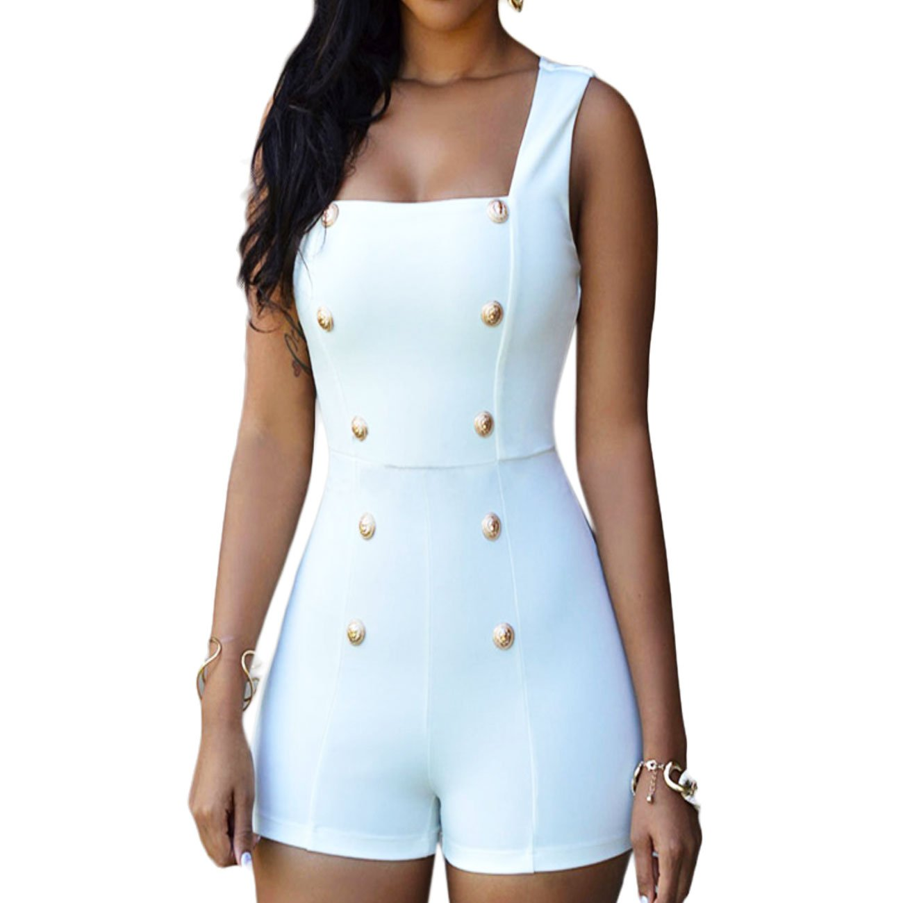 Overall donna pantaloncino shorts bottoni strass tutina intera nuovo DL-1807
