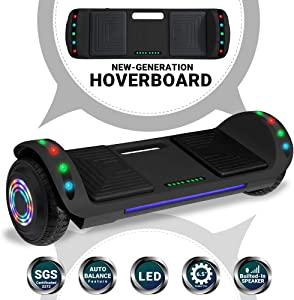 Newest Design Generation Electric Hoverboard Self-Balancing Dual Motors Two Wheels Hoover Board Smart Self Balancing Scooter with Built in Speaker LED Lights Adults Kids Gift (Shiny Grey)