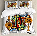 King Duvet Cover Set by Ambesonne, King of Clubs Playing Gambling Poker Card Game Leisure Theme without Frame Artwork, 3 Piece Bedding Set with Pillow Shams, Queen / Full, Multicolor