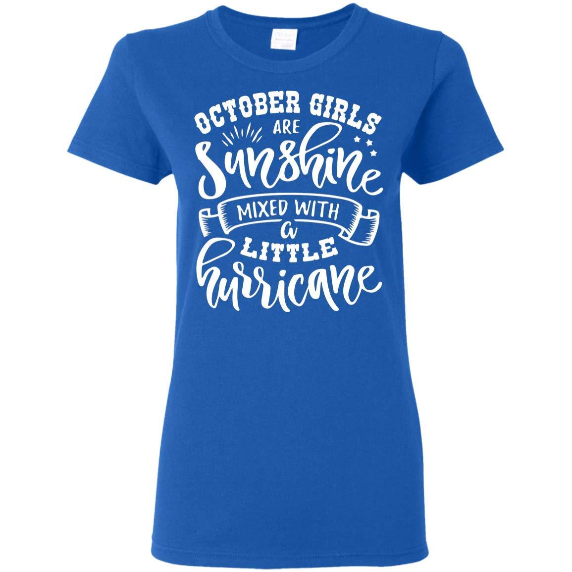 October Girls are Sunshine Mixed A Little Hurricane T-Shirt