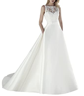 A Line Satin Lace Bridal Gown Boat Neck Wedding Dress With Pocket at ...