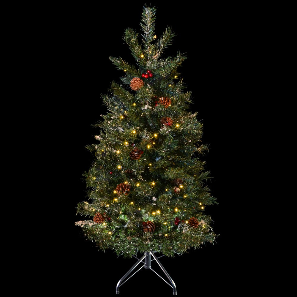4ft 122cm Green Decorated Prelit Artificial Festive Christmas ...