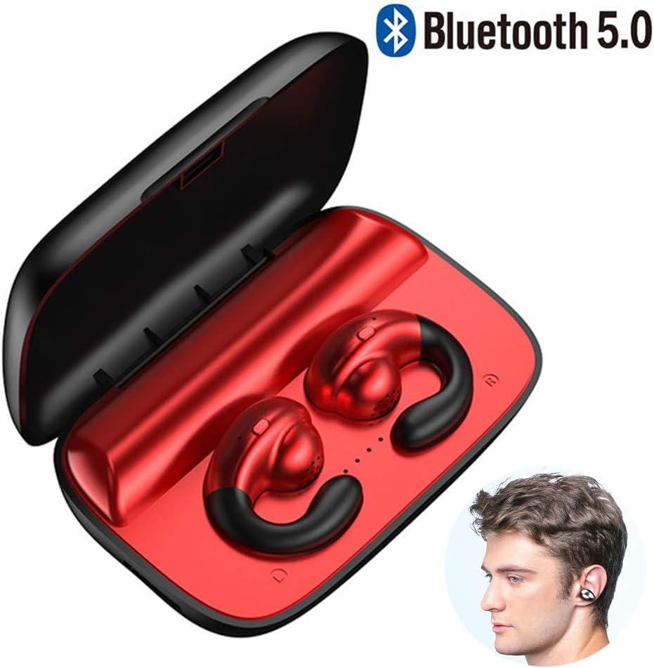 Braveking1 Auriculares de Conducción Ósea Bluetooth 5.0 Cascos Deportivos Open-Ear Impermeable Reducción de Ruido Estéreo Inalámbricos con Microfono para Ciclismo Trotar Deportes y Estado Físico,Rojo