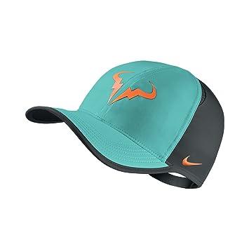 136e76485 Nike Rafael Nadal Featherlight Cap Hat Aqua/Black/Orange 715146-466 ...