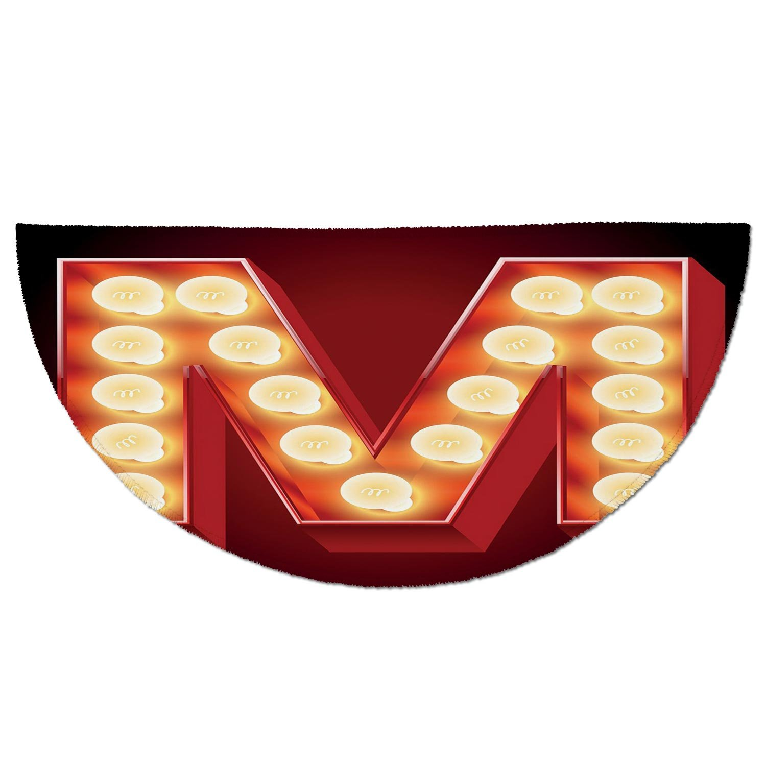 ... M,Vintage Alphabet Collection of Old Movie Theaters Casinos Retro Type Decorative,Vermilion Yellow Black,Garage Entry Carpet Decor for House Patio Gr