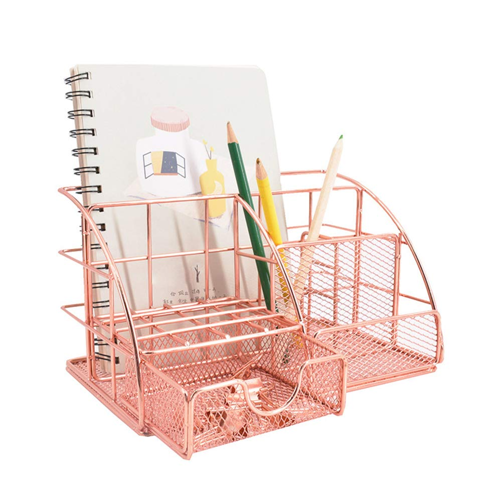 Stiftek/öcher Schublade Zettehalter JF Room Schreibtischorganizer Tisch-Organizer Schreibtisch-Organizer kompakter B/üroorganizer Metall