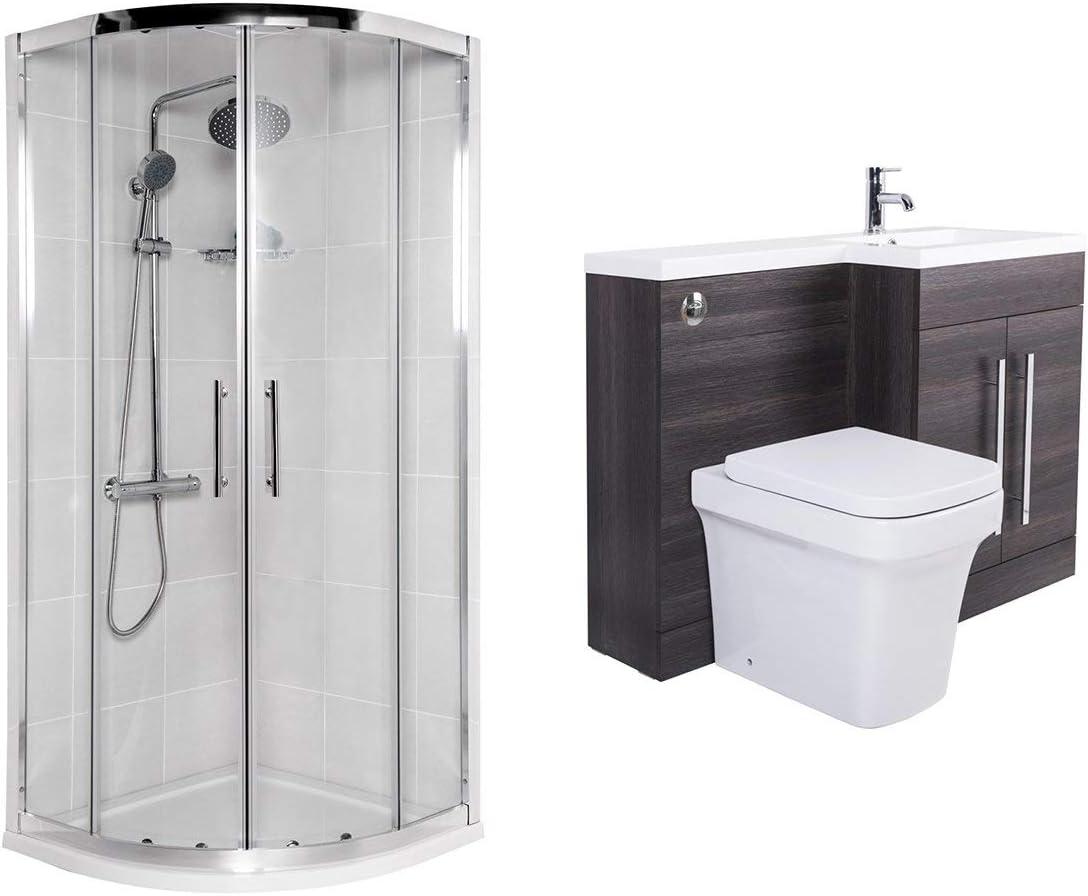 aquariss Avola – baño Completo con mampara de ducha, semicircular y plato ducha 900 x 900 mm mueble con Lavabo en el lado Derecho E inodoro: Amazon.es: Hogar