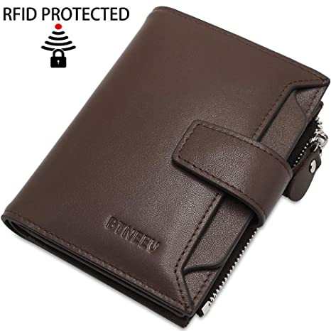 Cartera Hombre Cuero RFID Bloqueo BTNEEU Billetera Piel Hombre con Bolsillo de Moneda, Carteras Hombre