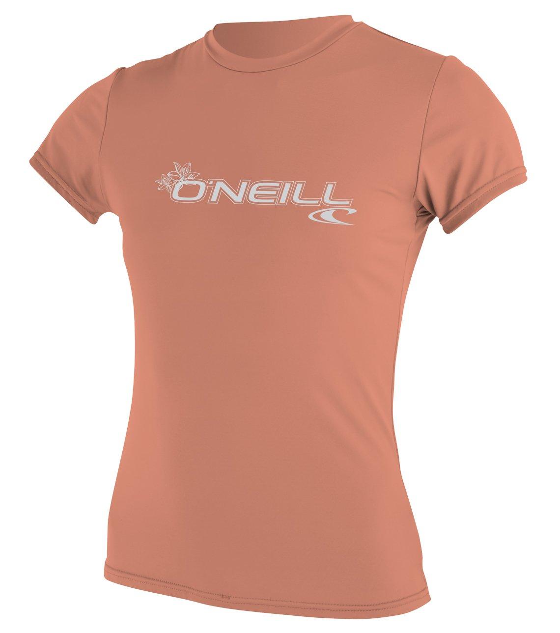 O'Neill Wetsuits Women's Basic Skins Upf 50+ Short Sleeve Sun Shirt, Light Grapefruit, X-Small