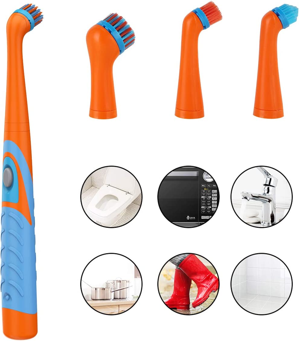 Super Sonic Power Scrubber Cordless with 4 Heads for Bathroom Household Tub Tile Floor Wall and Kitchen Electric Cleaning Brush Oscillating Cleaning Tool