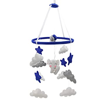 Amazon Com Piccolin Baby Crib Mobile Hanging Toys Nursery Decor For Boys White Blue And Grey Room Decorations Elephants Moons And Stars Safe Non Toxic Crib For Newborn Baby Shower Present Baby