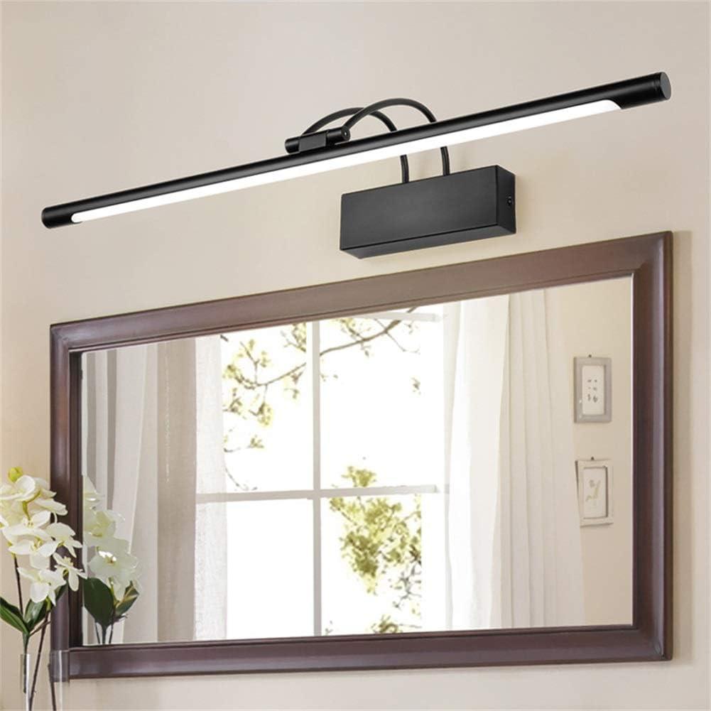 XFXDBT Spiegel Frontlicht LED 12w Schwarz,trendiger Bilderleuchte 180/° Drehbar Wasserdicht IP44 Wandleuchte Badlampe-k/ühles Wei/ß 55cm-12w