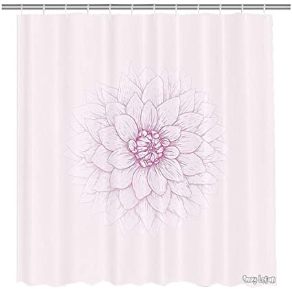 Amoy Lefan Dahlia Shower Curtain Ghastly Appearing Flower Close Up Sketch In Pale