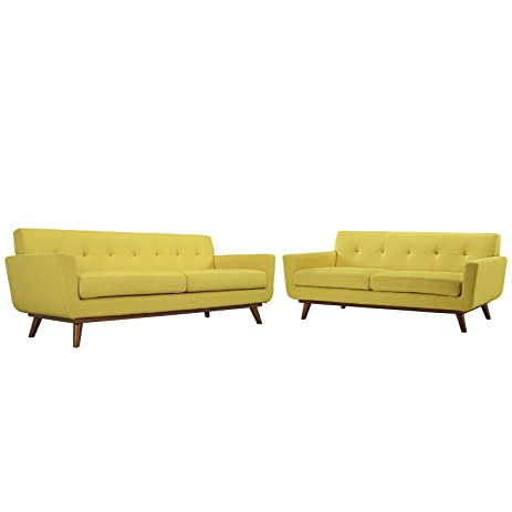 Charming Contemporary Retro Modern Loveseat And Sofa Set Of 2, Yellow Fabric