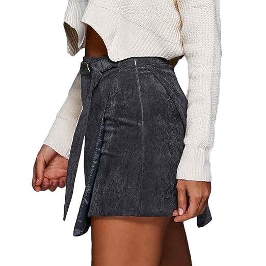 Sexy mujeres falda, Reaso pana mini-jupe, gris, medium: Amazon.es ...