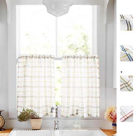 Classic Plaid Kitchen Curtains Gingham Checkered Design Linen Textured  Green and Taupe Striped Half Window Curtains for Bathroom, 2pcs 24 inches  ...