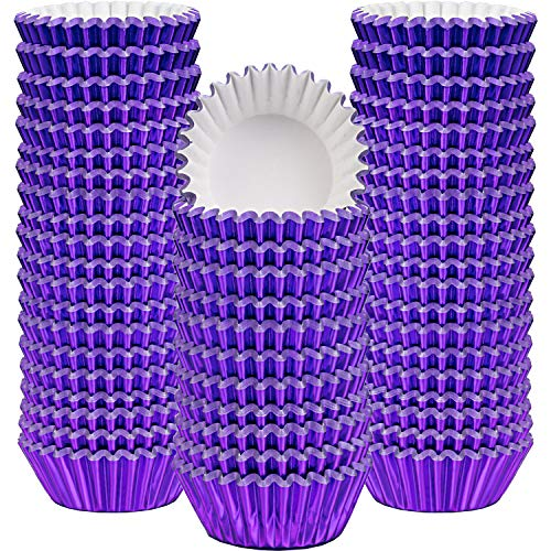 Sumind 400 Pieces Mini Cupcake Cup Liners, Foil Baking Cups, Foil Cupcake Liners for Baking Muffin and Cupcakes (Purple)]()