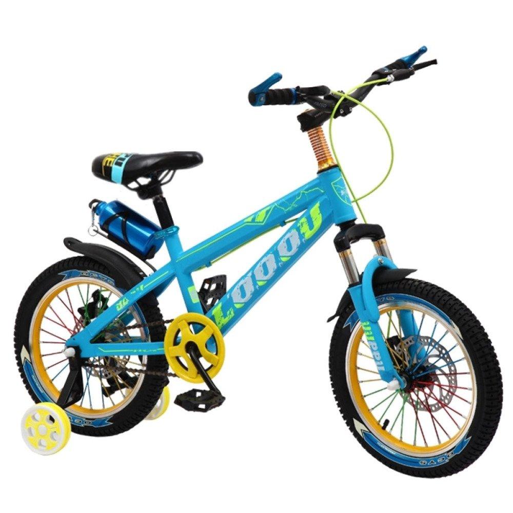primera vez respuesta QXMEI Bicicleta Niños Niños Niños 3-6-9-12 Años De Edad Niño Freno De Disco Doble Amortiguador 16/18/20 Pulgadas Bicicleta,Blue-18Inches  calidad de primera clase