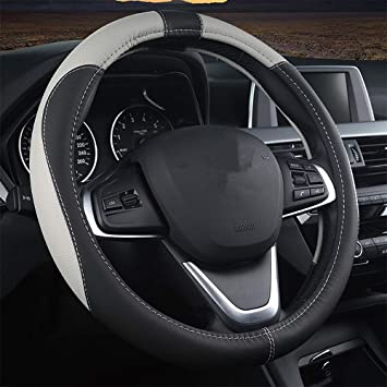 coofig Black Microfiber Leather Car Steering Wheel Cover,Odorless,Anti-Slip,Snug Grip,Fit Most Car,Cool in Summer Universal Size 14.5 15 15.5 Inches Grey