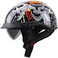 Skull Pattern Motorcycle Half Helmet, Open Face Motorbike Helmet, Cruiser Scooter Moped Helmet with Sun Visor for Men…