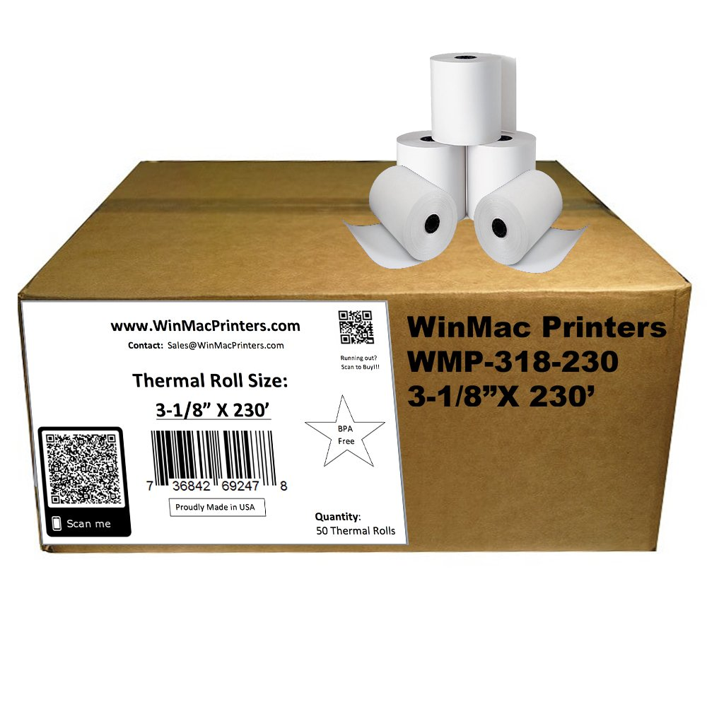 WinMac Printer's 3-1/8 x 230 Thermal Receipt Paper for POS Cash Register 50 Rolls BPA Free by WinMac Printers (Image #5)
