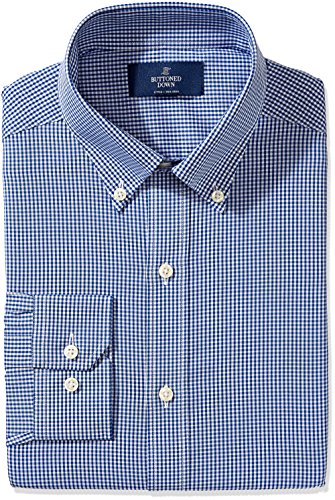 - BUTTONED DOWN Men's Fitted Button-Collar Non-Iron Dress Shirt, Blue Gingham, 19.5