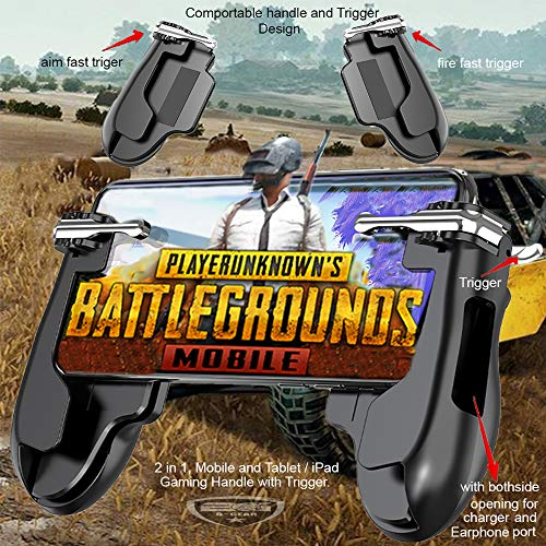 Mobile Game Controller | iPad Mini/iPad Pro Gaming Handle & Trigger |  Tablet Gaming Grip | Plug and Play L1 & R1 Trigger & Handle | Gamepad for  PUBG |