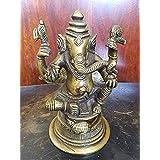 Spritual Gift Seated Ganesh Statue Good Luck Hindu God Sculpture Idol India