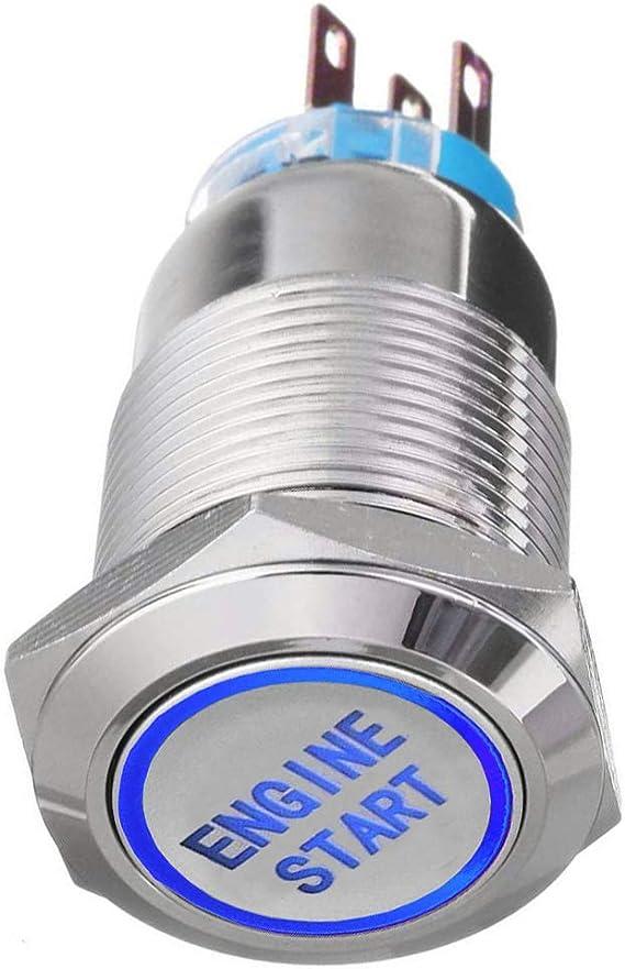 Mintice 19mm Kfz Kippschalter Wippschalter Druckschalter Schalter Drucktaster 12v Blau Led Licht Metall Engine Start Auto