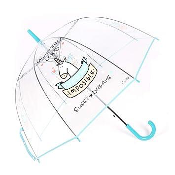 Paraguas Transparente, a Prueba de Viento y a Prueba de Lluvia, Forma de la bóveda de Moda con Unicornio patrón, Paraguas Largo, Azul: Amazon.es: Equipaje