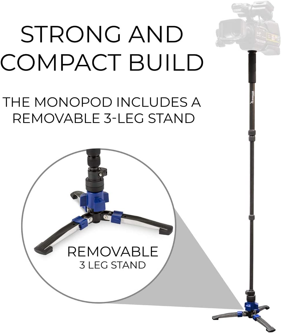 Professional 62-Inch Heavy Duty Monopod with Step ON//Off Locking Base Stand Fits All DSLR Cameras Point and Shoot Cameras and Camcorders