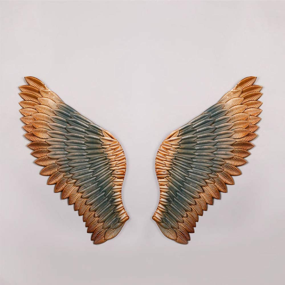 nouler Vintage Wrought Iron Wings Wall Bar Craft Wind Three-Dimensional Ornament Home,Blue,One Size