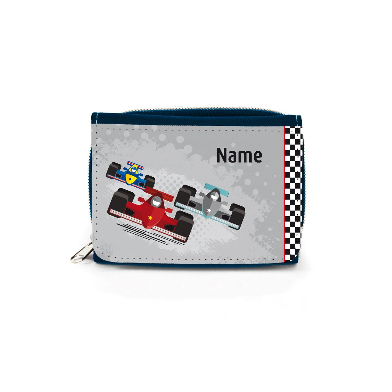 Striefchen® Kinder Geldbörse Denim mit Rennwagen Motiv und Wunschnamen mit Geschenkverpackung