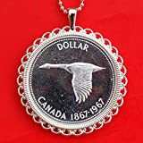 Canada 1867 ~ 1967 Confederation Centennial 80% Silver BU Proof-like Coin Solid 925 Sterling Silver Necklace NEW - Flying Goose