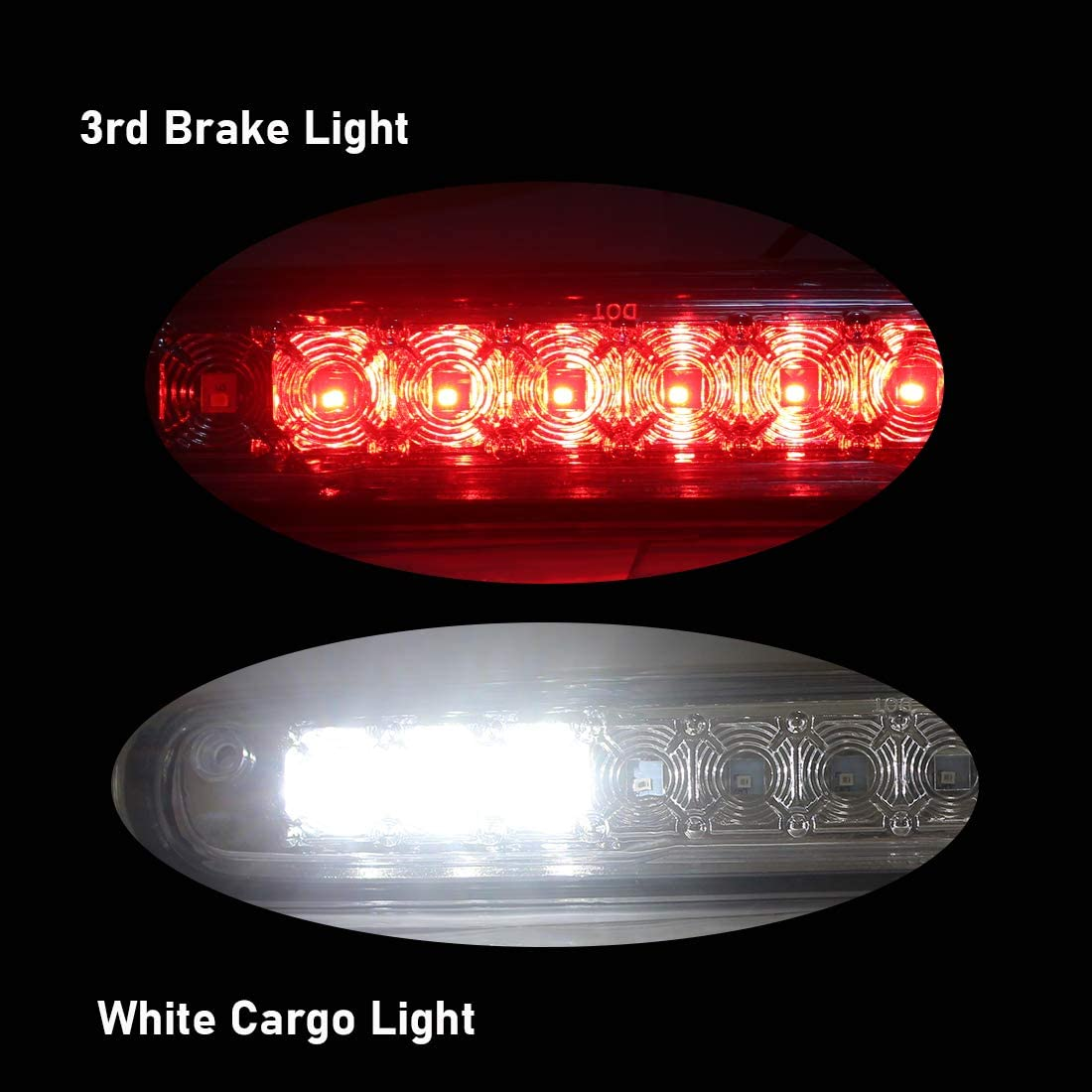 Red Lens Tail High Mount Stop Light Assembly NPAUTO LED Third 3rd Brake Light Cargo Lamp Replacement for 2007-2014 Chevrolet Silverado//GMC Sierra 1500 2500HD 3500HD