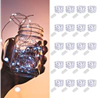 MUMUXI 20 Pack Fairy Lights Battery Operated, 3.3ft 20 LED Mini Waterproof Fairy String Lights Silver Wire Firefly…