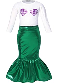 33478268fe95 HenzWorld Little Mermaid Ariel Costume Dress Swimsuit Girls Sequin Princess  Birthday Party Cosplay Clothes