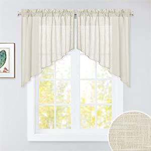 RYB HOME Semi Sheer Curtains Valances and Swags, Dual Rod Pockets Window Topper Causal Wave Voile Tiers for Kitchen Window Living Room Cafe, Warm Beige, 36 x 36 inch per Panel, Set of 2