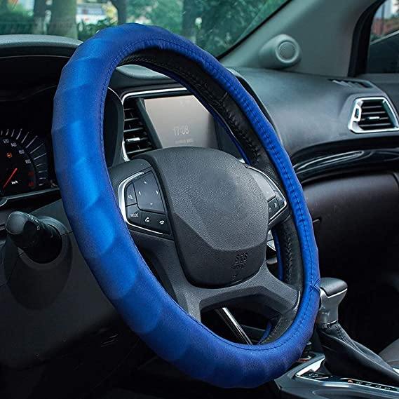 ATMOMO Microfiber Leather Auto Car Steering Wheel Cover Universal Fit 15 Inch-Red