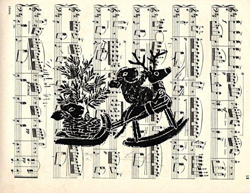tally-ho-hand-printed-lino-cut-on-vintage-music-sheet