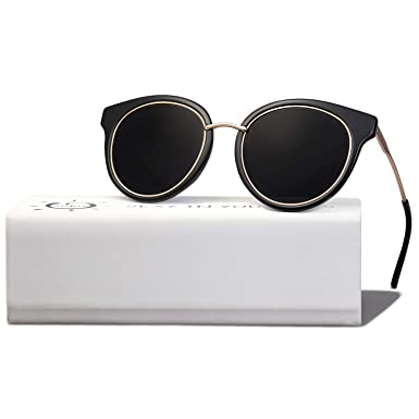 c51f558c15 SOJOS Polarized Lens Round Mens Womens Sunglasses Metal Frame MOMENT SJ1110  with Black Frame Grey