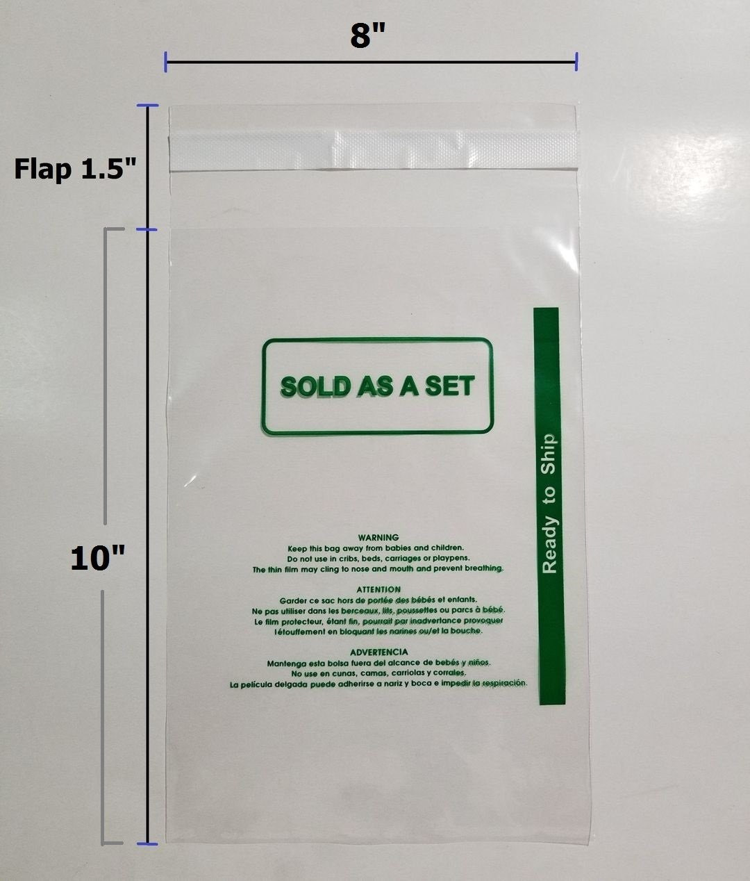 Permanent Self Seal Poly Bags 1.6 mil Self-Seal with Suffocation Warning PS 1000 Pcs 8x10