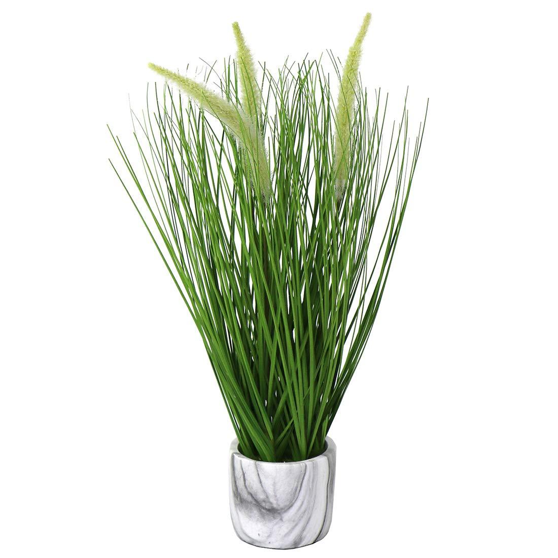 Artificial Mini Plants Flowers Fake Outdoor Plants Faux Greenery Artificial Grass Flower in White Pot Arrangements Garden Office Patio Indoor Outside Home Decor (White/Pot)