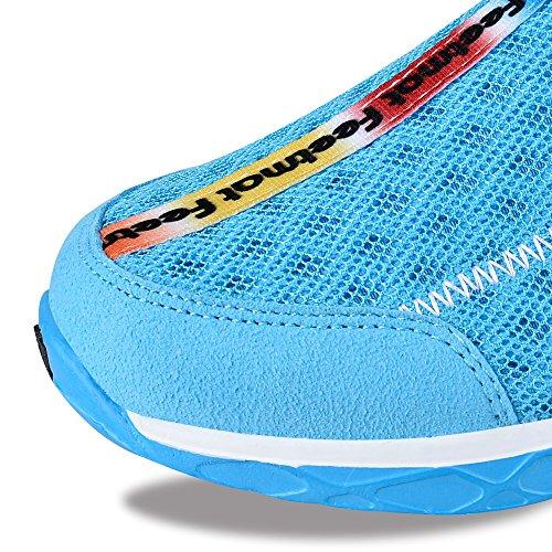 Feetmat Frauen Wasser Schuhe Mesh schnell trocknende Strandschuhe Blau